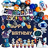 Outer Space Birthday Party Supplies, 108Pcs Space Themed Party Decorations for Boys - Banner, Cake, and Cupcake Toppers, Balloons, Swirl Decorations, Invitation Cards, Backdrops