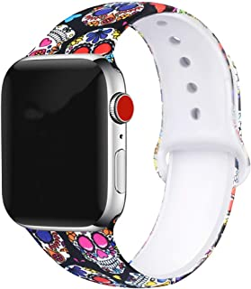 Floral Bands Compatible with Apple Watch Series 4/3/2/1,Silicone Sports Straps Printed Pattern Wristband for iWatch 38mm/42mm/40mm/44mm S/M M/L for Women/Men