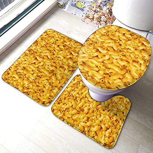 N \ A Macaroni and Cheese 3 Piece Bathroom Pads Includes Anti-Skid Pads Bath Mat + Contour + Toilet Lid Cover