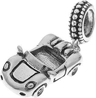 925 Sterling Silver Luxary Racing Car Dangle for European Charm Bracelets