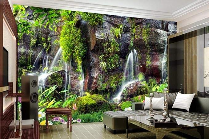 Custom Garden View Modern Wall Paper Waterfall Scenery 3d Nature Wallpapers Living Room Bedroom Wallpaper Brick Background Wall 430300cm Amazon Com
