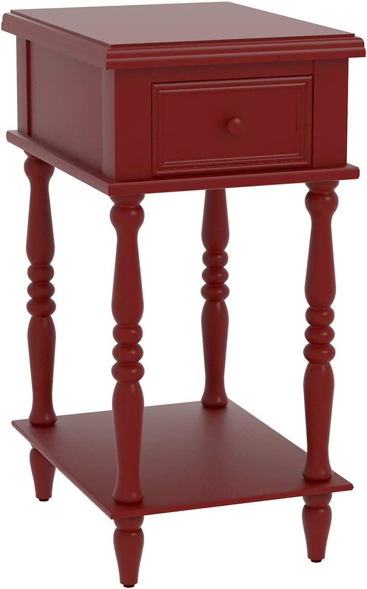 New popularity Urbanest Adams Accent End Table with 27-inch NEW Tall Drawer Red