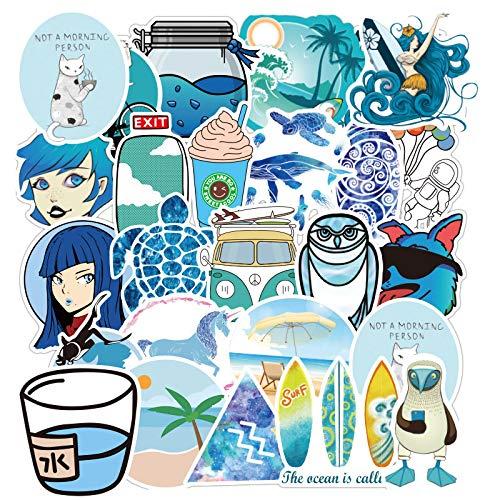 MBGM 100 pequeñas pegatinas de graffiti azul fresco del coche del tronco pvc impermeable del teléfono móvil de la taza de la etiqueta engomada