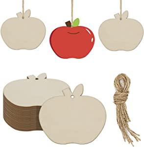20-Pack Wooden Apple Hanging Ornaments Blank Apple Shaped Wood DIY Crafts Cutouts Gift Tags for Halloween Fall Thanksgiving Christmas Decorations (3.94 x 3.54 x 0.1 in)