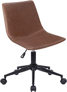 Homall Mid Back Task Chair Brown Leather Computer Office Chair Low Back Adjustable Swivel Vanity Chair Modern Armless Ribbed Conference Chair