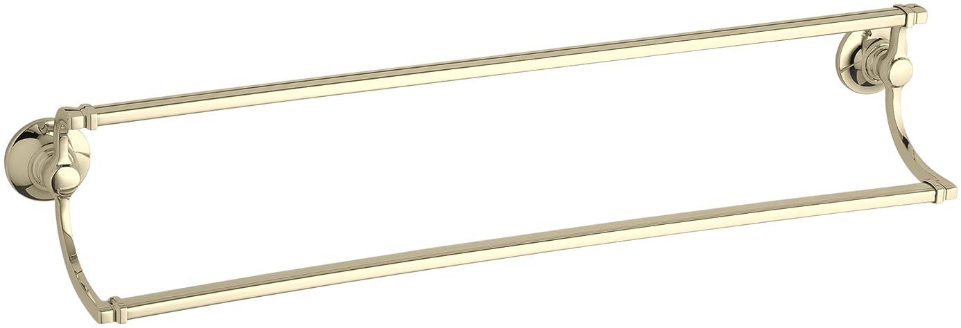 トークン解決ムスタチオKohler k-11413-afバンクロフト24インチダブルタオルバー、鮮やかなフランスゴールド