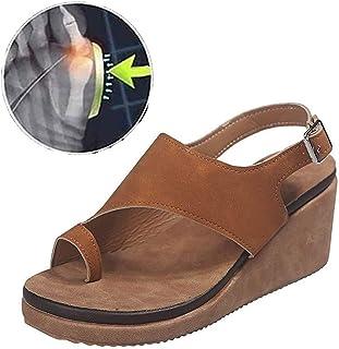 Wedges Sandals Women, Open Toe Leopard Print Ankle Strap Buckle Platform, Shoes for Big Toe Bone Correction Suitable for Everyday Wear