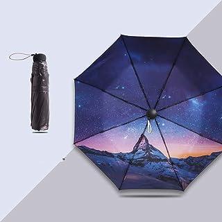 JSSFQK Ultralight and Windproof Folding Umbrella Gift Umbrella Sun Protection UV Umbrella Art Style Blue Umbrella