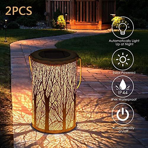 YAOLAN 2pcs Solar Laterne Hängend Deko IP44 wasserdichte für Terrasse Pathway Weihnachten Gartendeko