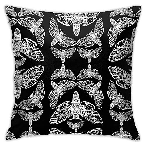 Pillow Cover,Death Head Moth Tangle Dacover Throw Pillow Case Modern Cushion Cover Square Pilloase Decoration for Sofa Bed Chair Car 18 X 18 Inch