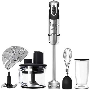 FIMEI Batidora de Inmersión, 1000 W, Batidora de Mano con Velocidad Infinitamente Variable, Robot de Cocina 5 en 1 con Prensapatatas, Batidora, Batidora de Huevos, 600 ml Becher, 500 ml Chopper: Amazon.es: Hogar