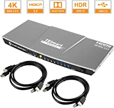 TESmart 4x1 KVM HDMI Switch HDMI Switcher 4K @60Hz con 2 Cables KVM de 5 pies /1.5 m, Soporta USB 2.0 y Salida de Audio Analógica L/R HDCP2.2, Compatible con Unix/Windows/Mac OS X, etc. (Gris)