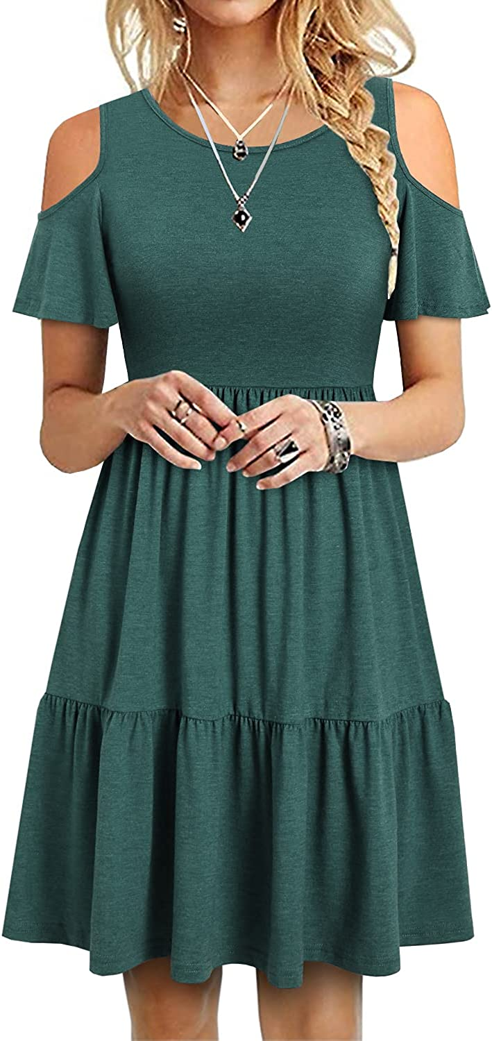 YATHON Women's Casual Cold Shoulder Sleeve Mini Dress Summer Loose Short Ruffle Pleated Dress with Pockets