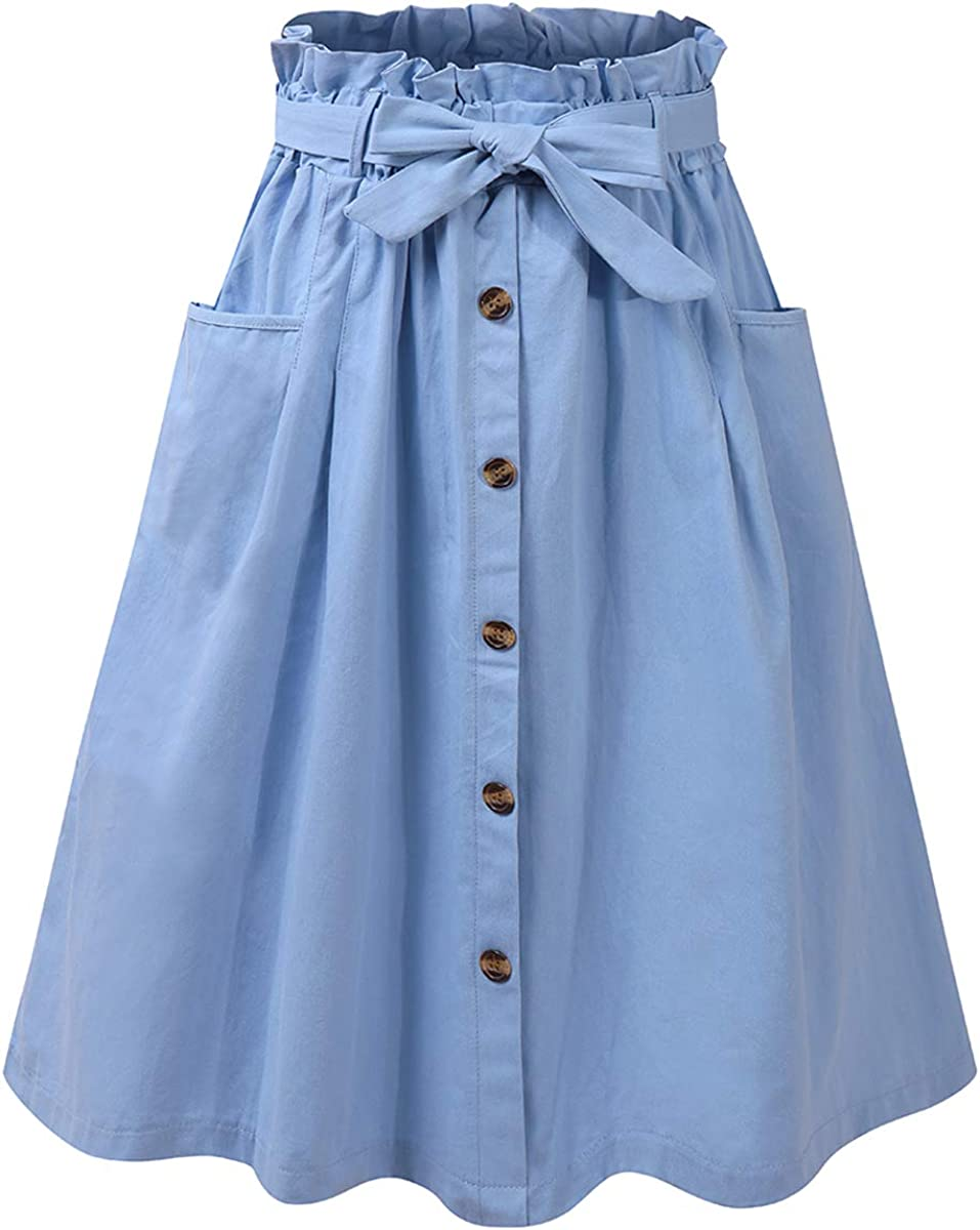 tetyseysh Women Casual High Waisted Button Ple Front Length Popular Large-scale sale standard Knee