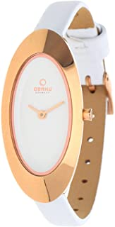 Obaku Women's White Dial Leather Band Watch - V156LVIRW