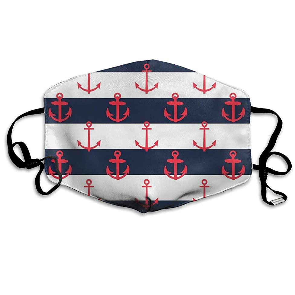 Whages Nautical Anchor Pattern Washable Reusable Safety Breathable Mask, 4.3