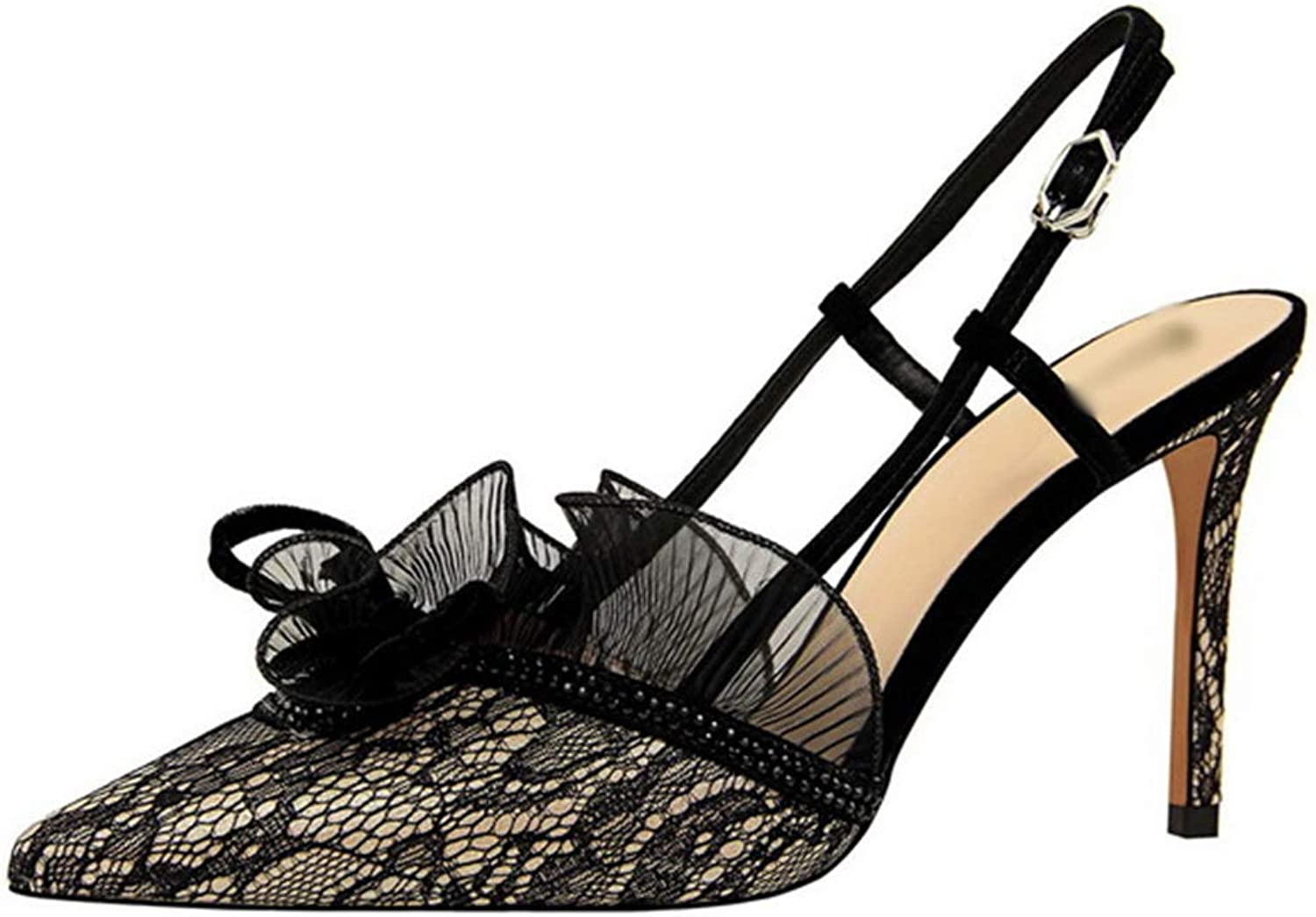 Drew Toby Women Pumps Sexy Floral Lace Cut-Outs Buckle Party Shallow Pointed High Heels