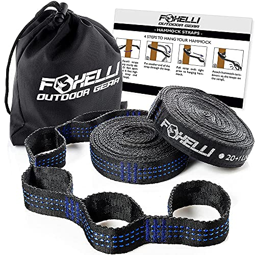 Foxelli Hammock Straps XL – Camping Hammock Tree Straps Set (2 Straps & Carrying Bag), 20 ft Long Combined, 40+2 Loops, 2000 LBS No-Stretch Heavy Duty Straps for Hammock Suspension System Kit