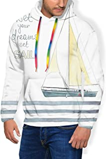 GULTMEE Men's Hoodies Sweatershirt, Let Your Dreams Sail Words Stripes Yacht Interior Navigation Theme,5 Size