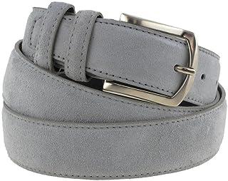 La Bottega del Calzolaio Cintura in pelle uomo camoscio classica grigio chiaro artigianale made in italy
