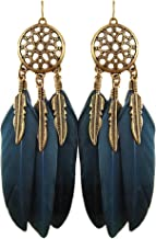 Bobury Pendientes Dreamcatcher para mujer Pendientes de aleación de borla de hoja larga