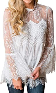〓COOlCCI〓Women Long Sleeve Flare Sleeve Sheer Mesh Lace Patchwork Blouse Peplum Top Lrregular Hem Shirts Pullover Tops