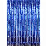 2 Pack Tinsel Foil Fringe Backdrop Metallic Door Window Curtain Shimmer Photo Booth for Birthday Wedding Bridal Baby Shower Christmas Party Decor (3.28ft x 6.56ft, Royal blue)