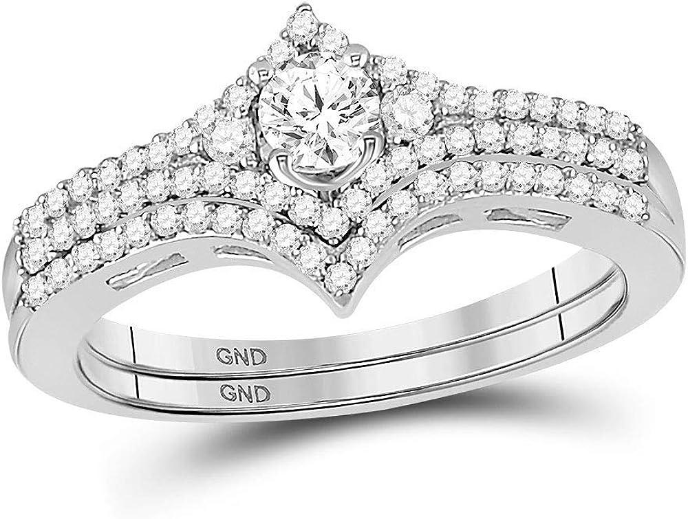 14kt White Gold Round Diamond Chevron Bridal Wedding Ring Band Set 1/2 Cttw