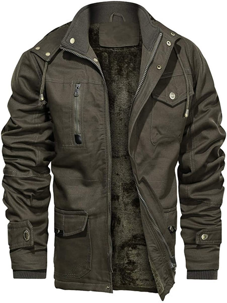 Men's Winter Fleece Lined Military Jackets Thicken Cotton Coat Cargo Hooded Jacket Outerwear
