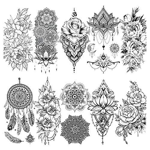LAROI 10 Blätter Schwarz indisches Temporäre Tattoos Blume Für Frauen Mandala DreamCatcher Tattoos Temporäre Erwachsene Aufkleber Mädchen Körperkunst Arm Tätowierung Spitzen Gefälscht Tatoos Hochzeit