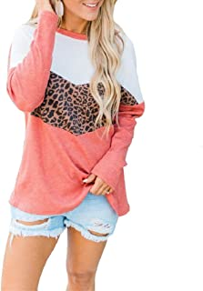 S-Fly Womens Casual O Neck Leopard Print Long Sleeve Color Block Loose Fit T-shirt