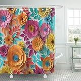 TOMPOP Duschvorhang aus Polyester, wasserdicht, mit Haken, Polyester-Mischgewebe, Mehrfarbig 13, 72