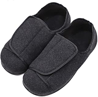 MEJORMEN Men's Wide Feet Diabetic Slippers Adjustable Shoes Orthopedic Soft Comfortable for Swollen Feet Edema Elderly Men Dad Husband