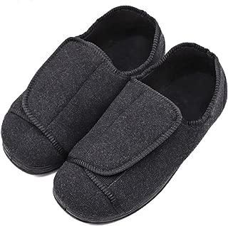 MEJORMEN Men's Diabetic Slippers Adjustable Touch Close Strap House Shoes Orthopedic Soft Comfortable Wide Width Footwear Relief for Wide Swollen Feet Edema Arthritis Elderly Men Dad Husband