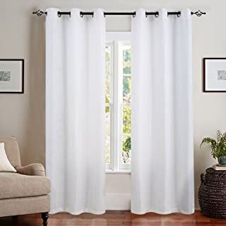 White Curtains 84 inch Living Room Curtains Waffle Weave Light Reducing Privacy Window Curtain Panels for Bedroom Window Treatment Set, Grommet Top, 2 Panels