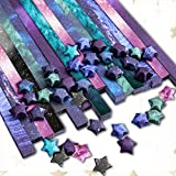 Paperkiddo 800 Sheets Origami Stars Paper 8 Different Designs of Beautiful Outer Space Sky for Paper Arts Crafts Kids Luminous Starry Sky Grown-ups School Teachers Folding Origami Star Paper Strips