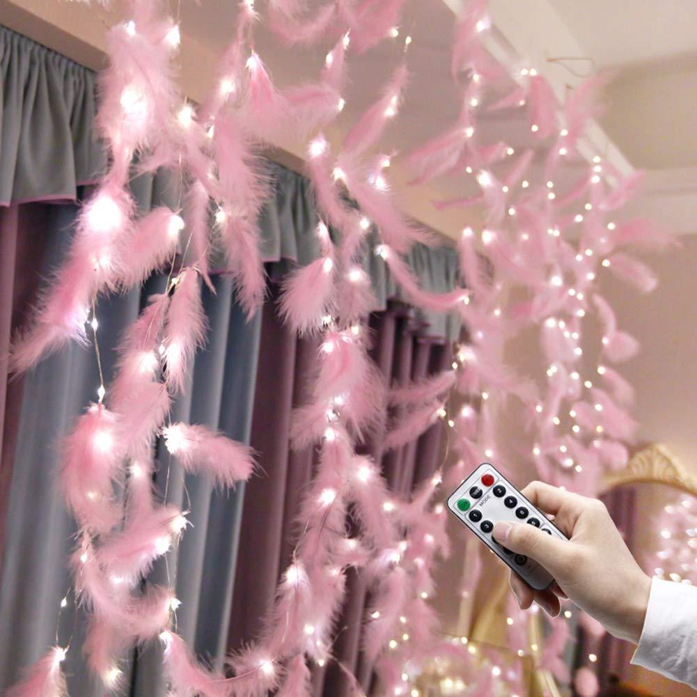 Rideau Lumière Étanche, 15 LED Guirlande Lumineuse Plume Rose