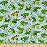 Frolicking Fields Tossed Frogs Light Blue/Multi, Quilting Fabric by...