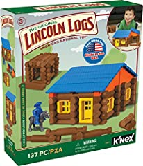 137 AUTHENTIC WOODEN PIECES – LINCOLN LOGS Oak Creek Lodge contains 137 parts and pieces made in the U.S. from real maple wood logs. Each log has indentations that can be used to connect it with the others. The package also includes a door, roof eave...