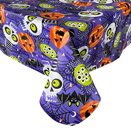 Newbridge Ghoulish Gang Whimsical Halloween Vinyl Flannel Backed Tablecloth - Pumpkin, Bats, Skulls and Spiderweb Fun Halloween Tablecloth, Easy Care Wipe Clean, 52 in x 70 in Oblong/Rectangle
