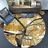 GJXY Moquette Vintage Rotonda Tappeto Nordico Moderno Oro Giallo Lascia Tappeto Morbido Velluto Camera da Letto Tappetino Indoor tappeti Outdoor Living,Diameter160