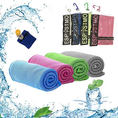 Espistmo Kühlendes Handtuch 3 Stück Reisetuch 100 x 30 cm Gym Mikrofasertuch für Männer oder Frauen Eiskalte Handtücher für Yoga Gym Reisen Camping Golf Fußball & Outdoor Sport (4 pcs)
