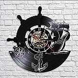 Relojes De Pared Barco de ancla Brújula naval Vintage Decoración de pared náutica Arte del hogar Reloj de pared Marineros Disco de vinilo Reloj de pared Regalos de navegación hechos a mano-Iluminado