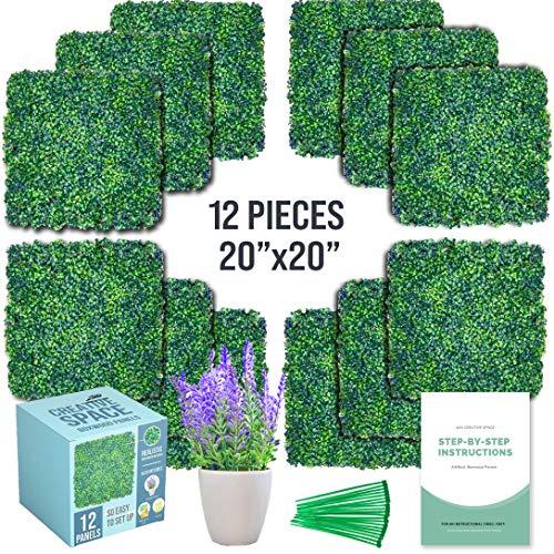 Grass Wall, Artificial Boxwood Panels - 12 Pcs, 20