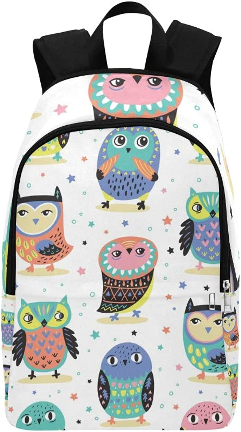 Cute Owls Stars Pastel Casual Daypack Travel Bag College School Backpack for Mens and Women
