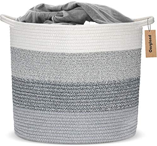 COSYLAND Large Woven Storage Basket 15 8 x 15 8 x 14 6 inches Cotton Rope Organizer Baby Laundry product image