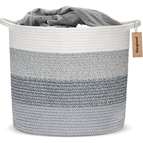 COSYLAND Large Woven Storage Laundry Basket Cotton Rope Organizer for Blanket Toys Towels Baby Nursery Hamper Bin with Handle