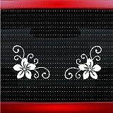 Noizy Graphics Hibiscus #15 Plumeria Corner Pair Cute Hawaiian Car Sticker Truck Window Vinyl Decal Color: White
