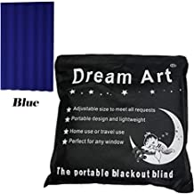 DREAM ART Anywhere Temporary Portable Blackout Curtain/Adjustable Blackout Shades Blinds with Suction Cups for Bedroom or Travel Use,Blue,1 pc W52xL72Inch(132X183cm)