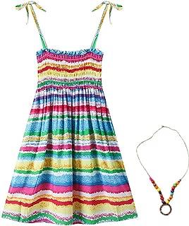 Áo quần dành cho bé gái – Girls Bohemian Dresses Floral Sleeveless Rainbow Beach Sundress with Necklace 2-12T